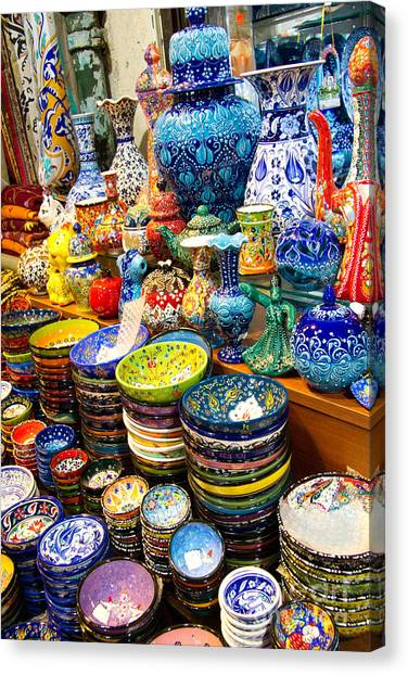 Turkish Canvas Print - Turkish Ceramic Pottery 1 by David Smith