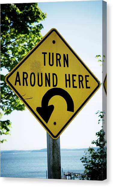 Caution Canvas Print - Turn Around Here Sign by Ron Koeberer