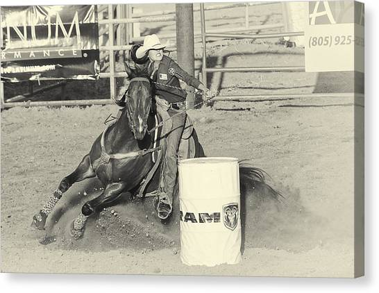 Barrel Racing Canvas Print - Turn by Caitlyn  Grasso