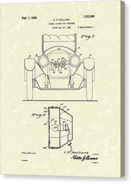 Turn Signals Canvas Print - Turn Signals 1925 Patent Art by Prior Art Design