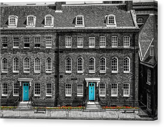 Turquoise Doors At Tower Of London's Old Hospital Block Canvas Print