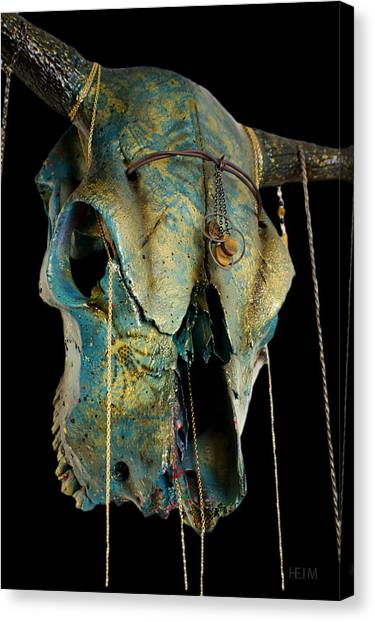 Turquoise And Gold Illuminating Steer Skull Canvas Print