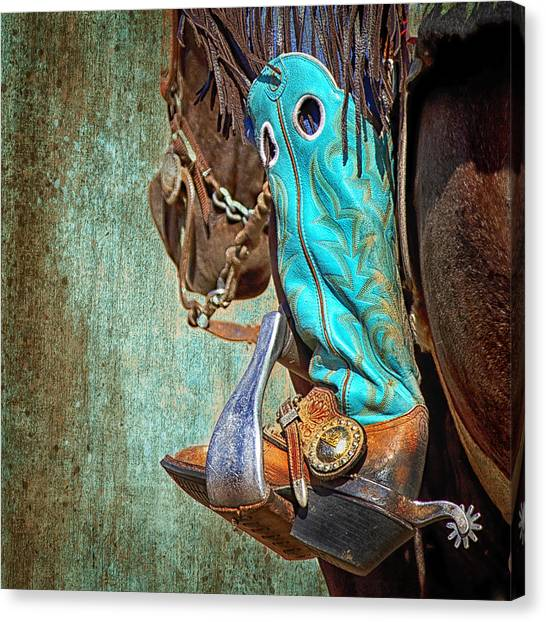 Cowboy Boots Canvas Print - Turquoise Boot by Susan Kordish