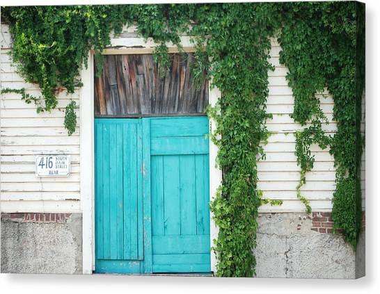 Turquoise Door Canvas Print by Pamela Schreckengost