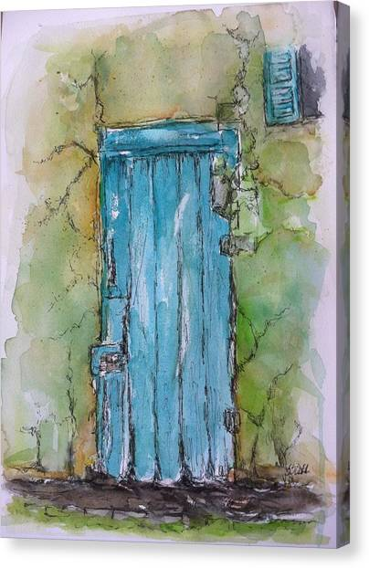 Turquoise Door Canvas Print by Stephanie Sodel
