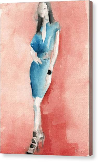 Turquoise Canvas Print - Turquoise Dress Watercolor Fashion Illustration by Beverly Brown Prints