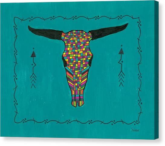 Turquoise Longhorn Skull Canvas Print