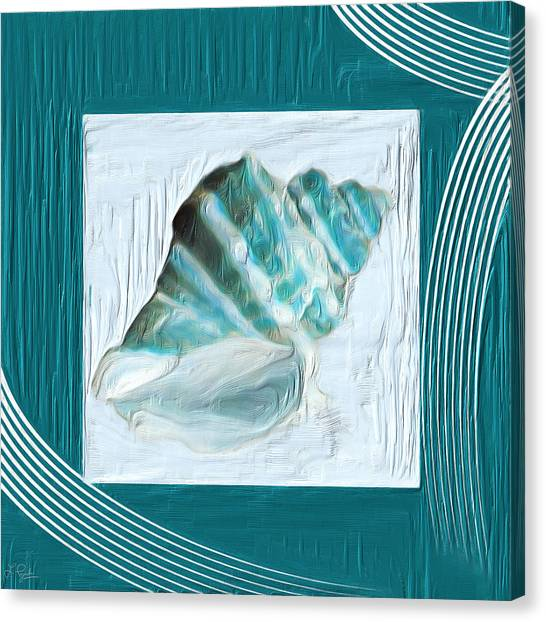 Abstract Seascape Canvas Print - Turquoise Seashells Xxii by Lourry Legarde