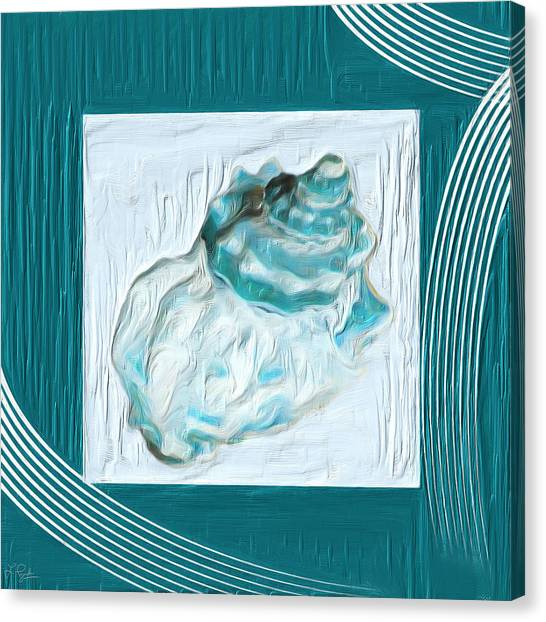 Cottage Style Canvas Print - Turquoise Seashells Xxiv by Lourry Legarde