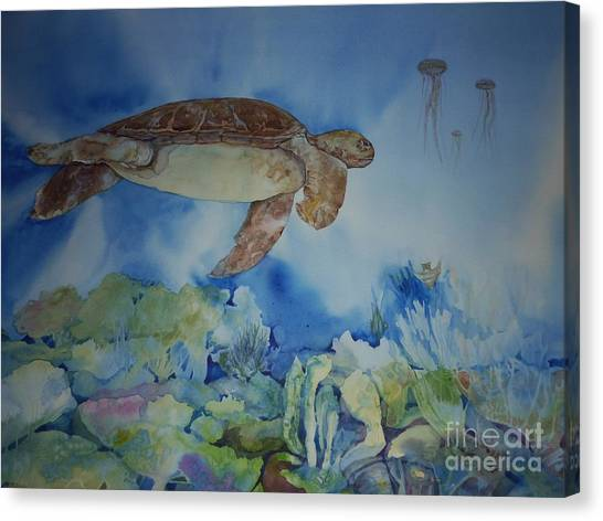 Turtle And Jelly Fish Canvas Print by Donna Acheson-Juillet