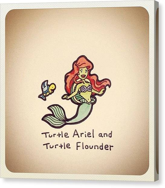 Reptiles Canvas Print - Turtle Ariel And Turtle Flounder by Turtle Wayne