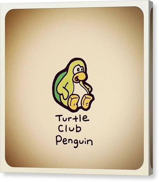 Turtles Canvas Print - Turtle Club Penguin by Turtle Wayne