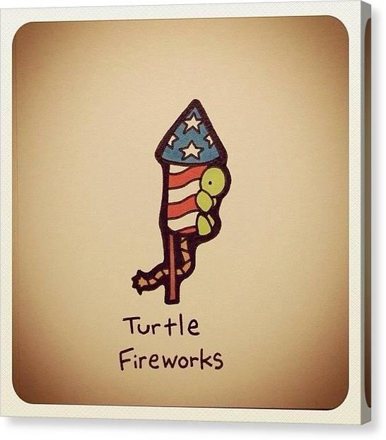 Reptiles Canvas Print - Turtle Fireworks by Turtle Wayne