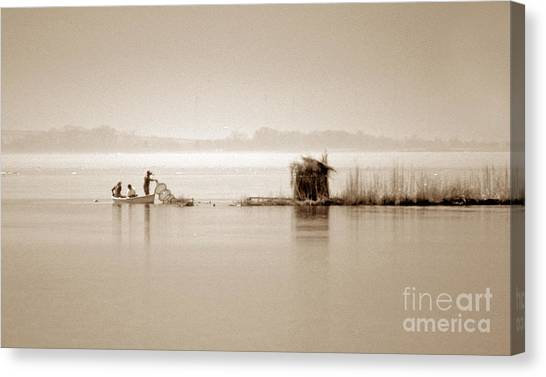 Snapping Turtles Canvas Print - Turtle Fishing by Skip Willits