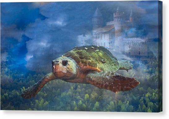 Turtle In Atlantis Canvas Print