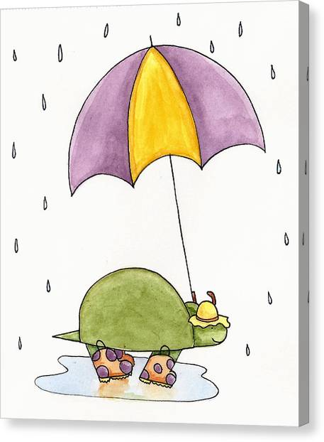 Turtles Canvas Print - Turtle In The Rain by Christy Beckwith