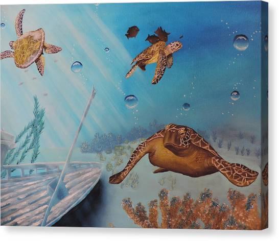 Turtles At Sea Canvas Print