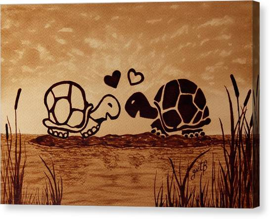 Tortoises Canvas Print - Turtles Love Coffee Painting by Georgeta  Blanaru