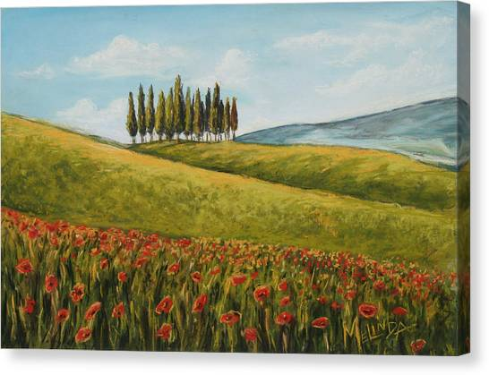 Tuscan Field With Poppies Canvas Print