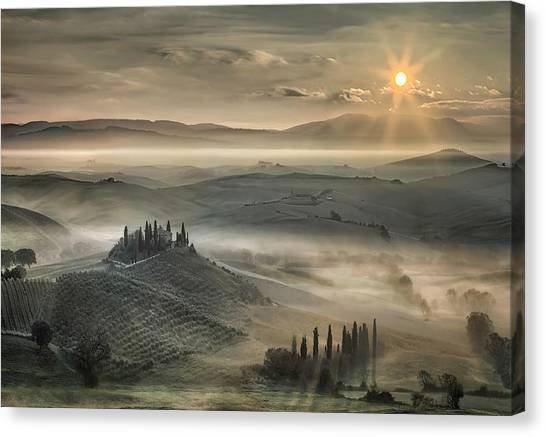 Rolling Hills Canvas Print - Tuscan Morning by Christian Schweiger
