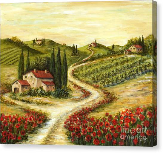 Vineyard Canvas Print - Tuscan Road With Poppies by Marilyn Dunlap