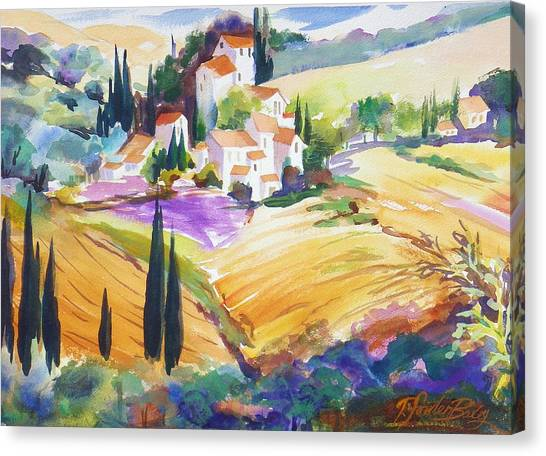 Tuscan Villas And Fields Canvas Print by Therese Fowler-Bailey