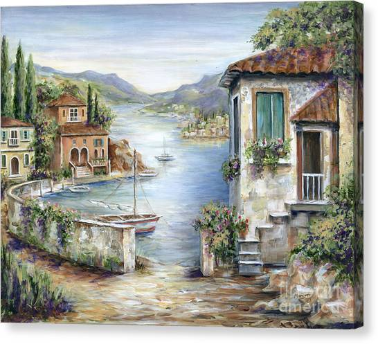 Fishing Boats Canvas Print - Tuscan Villas By The Lake by Marilyn Dunlap