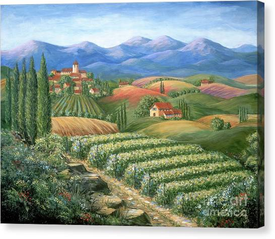 Wine Country Canvas Print - Tuscan Vineyard And Village  by Marilyn Dunlap
