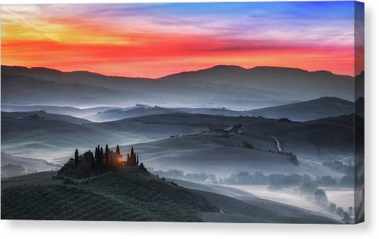 Rolling Hills Canvas Print - Tuscany by Joaquin Guerola