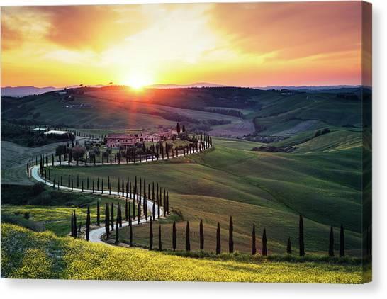 Tuscany Landscape At Sunset Canvas Print