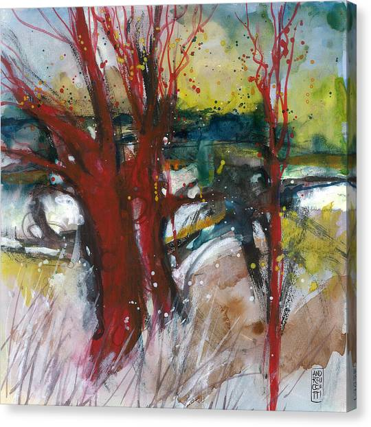 Tuscany Landscape With Red Tree Canvas Print by Alessandro Andreuccetti
