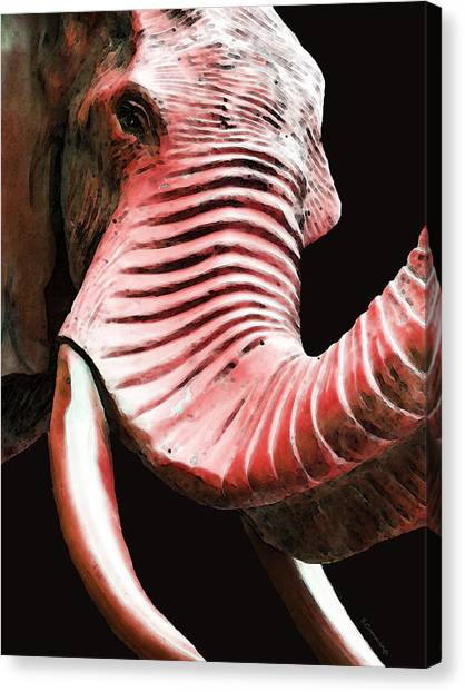Sec Canvas Print - Tusk 4 - Red Elephant Art by Sharon Cummings