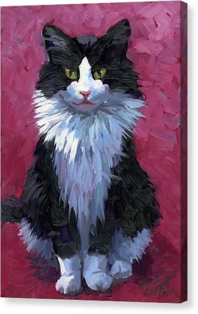 Tuxedo Canvas Print - Tuxedo Cat by Alice Leggett