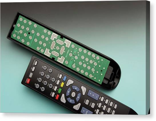 Keypad Canvas Print - Tv Remote Control Components by Sheila Terry/science Photo Library