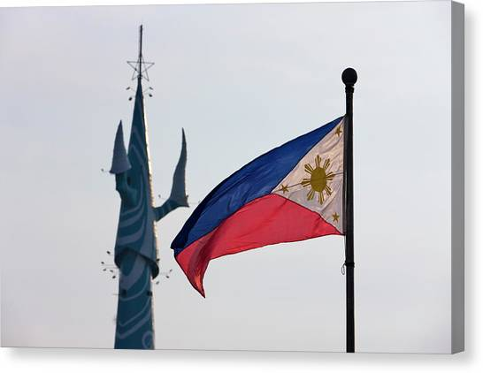 Tv Tower Canvas Print - Tv Tower And National Flag, Manila by Keren Su