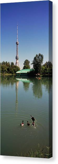 Tv Tower Canvas Print - Tv Tower At The Lakeside, Tashkent Tv by Animal Images