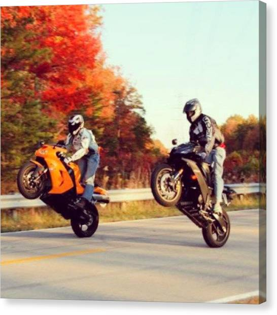 Yamaha Canvas Print - Twan And I #twistthrottletuesday #r6 by Cody Medlin