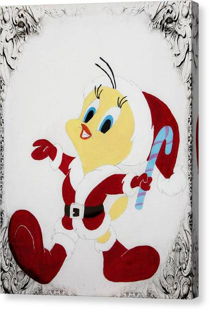 Tweety Christmas Canvas Print