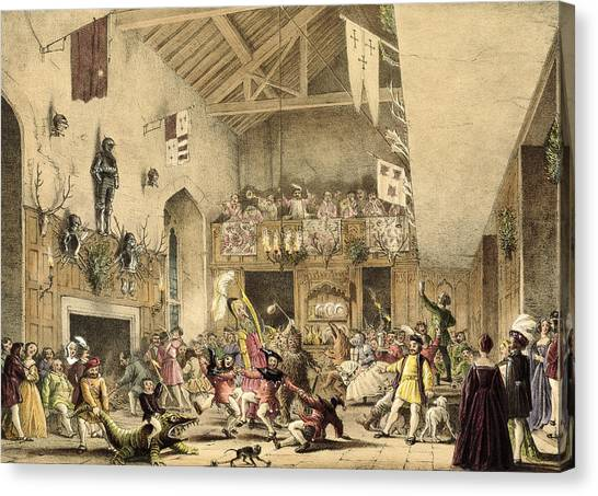 Alligators Canvas Print - Twelfth Night Revels In The Great Hall by Joseph Nash
