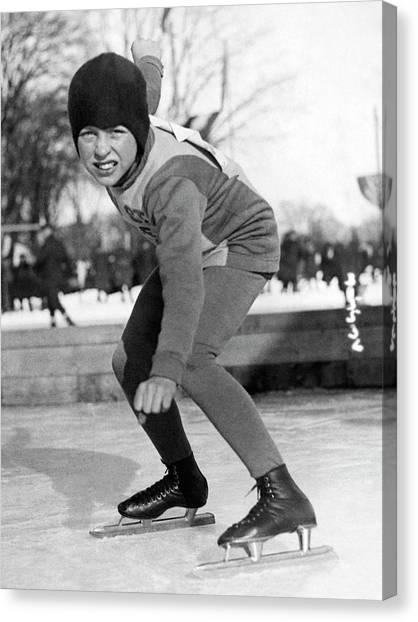 Speed Skating Canvas Print - Twelve Year Old Speed Skater by Underwood Archives