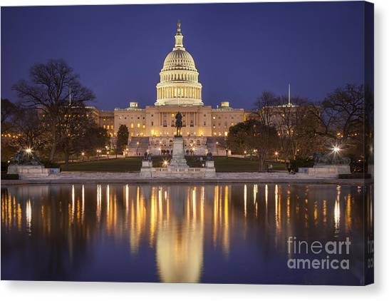 Twilight At Us Capitol Canvas Print
