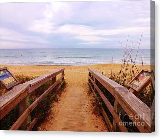 Twilight Beach Walk Canvas Print