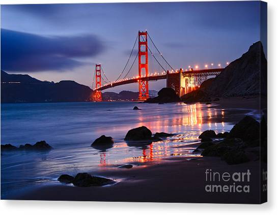 Golden Gate Bridge Canvas Print - Twilight - Beautiful Sunset View Of The Golden Gate Bridge From Marshalls Beach. by Jamie Pham