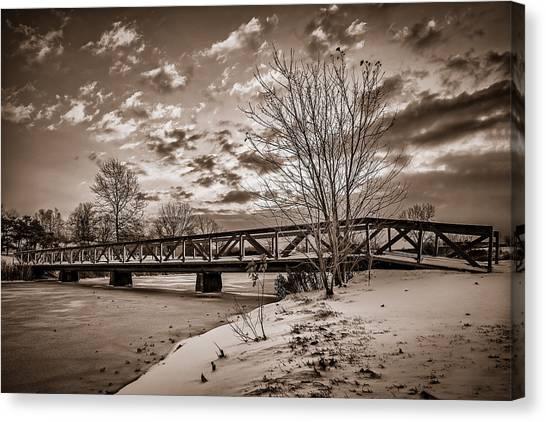 Twilight Bridge Over An Icy Pond - Bw Canvas Print