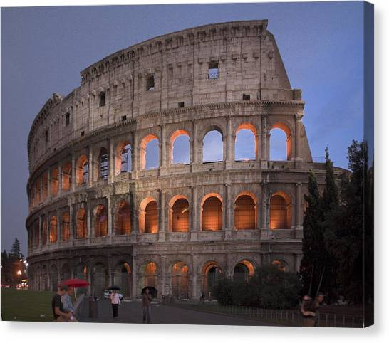 Twilight Colosseum Rome Italy Canvas Print