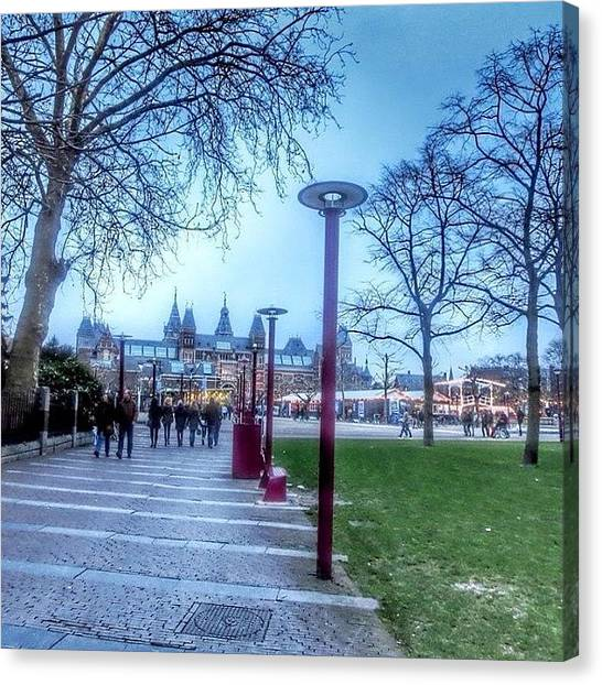 Rijksmuseum Canvas Print - Twilight In Amsterdam ... Museumplein by Maritha Graph