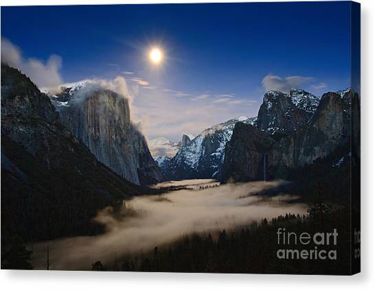 Foggy Forests Canvas Print - Twilight - Moonrise Over Yosemite National Park. by Jamie Pham