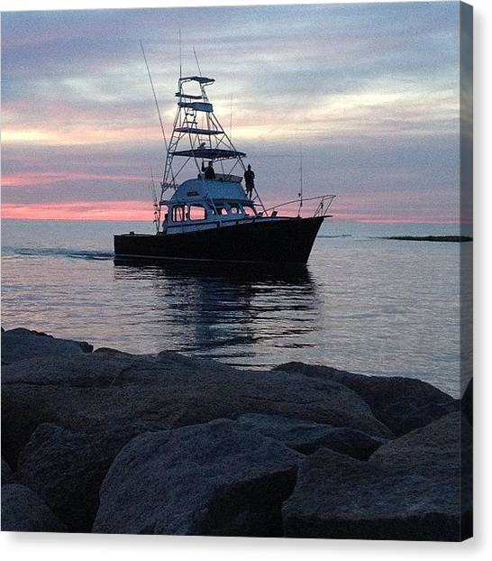 Fishing Boats Canvas Print - Twilight Return by Justin Connor