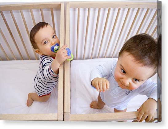 Dummies Canvas Print - Twin Baby Boys In Their Cots by Aj Photo