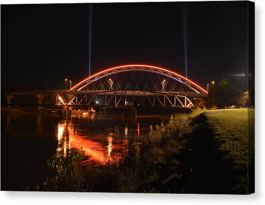 Twin Bridges At Night Canvas Print